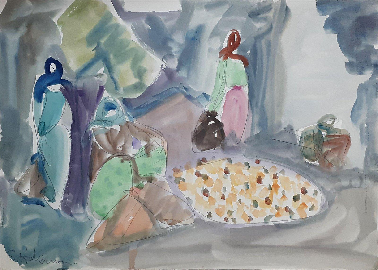 Shimshon Holzman 1907-1986 (Israeli) Women watercolor
