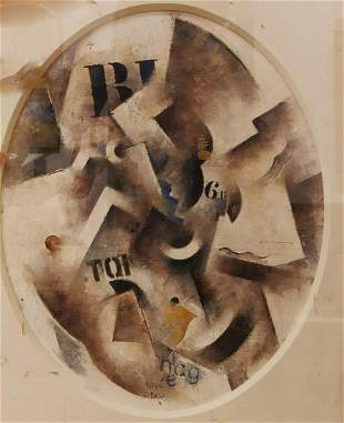 Robert Marc 19431993 French Composition cubiste oil
