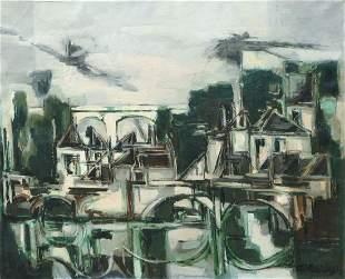 Claude Venard 19131999 French Urban landscape oil on