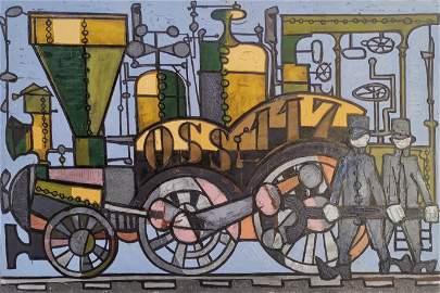 Claude Venard 1913-1999 (French) Locomotive, c.1950 oil