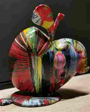 Neil Kerman b1948 American Apple hand painted