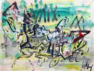 Gen Paul 18951975 French Carriages gouache on paper