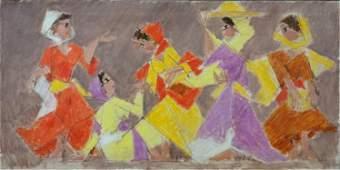 Arieh Lubin 1897-1980 (Israeli) Market women, 1970 oil