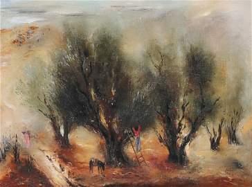 Reuven Rubin 1893-1974 (Israeli) Olive trees, c.1950