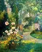 Albert Malet 1902-1986 (French) Garden view oil on