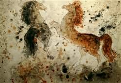 Reuven Rubin 1893-1974 (Israeli) Two Arabian horses