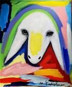 Menashe Kadishman 1932-2015 (Israeli) Sheep head 60x50