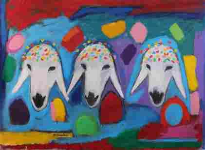 Menashe Kadishman 1932-2015 (Israeli) Three sheep heads
