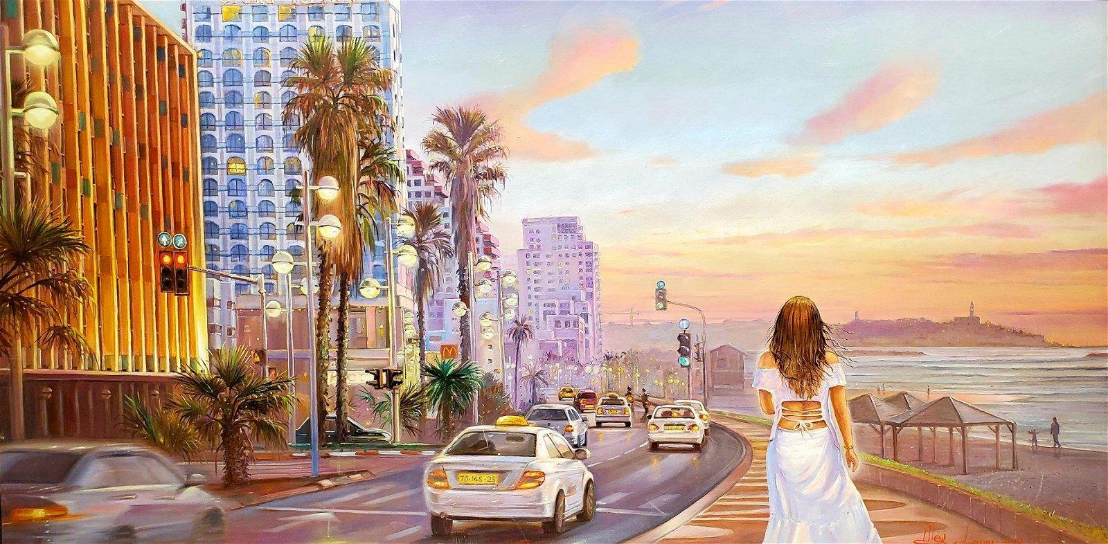 Alex Levin b.1975 (Israeli) Tel Aviv Lights up oil on