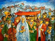 **Yosl Bergner 1920-2017 (Israeli) Wedding oil on