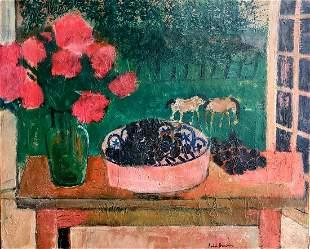 Andre Brasilier b.1929 (French) Vase of flowers on the
