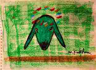 Menashe Kadishman 1932-2015 (Israeli) Sheep head panda