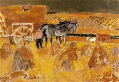 Andre Brasilier b.1929 (French) Les moissons, 1961 oil