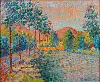 Serge MENDJISKY 1929-2017 (French) Landscape, 1972 oil