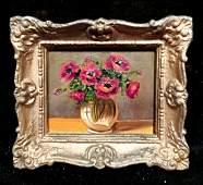 Unknown artist Vase of flowers oil on board