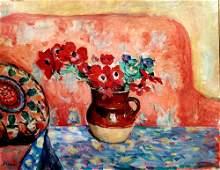 Henri Lebasque 1865-1937 (French) Pichet d'anemones oil