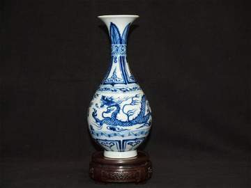 Blue & White Dragon Vase