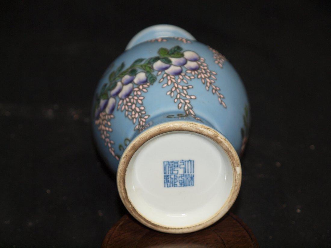 Light Blue Vase whit Birds and Marking - 2