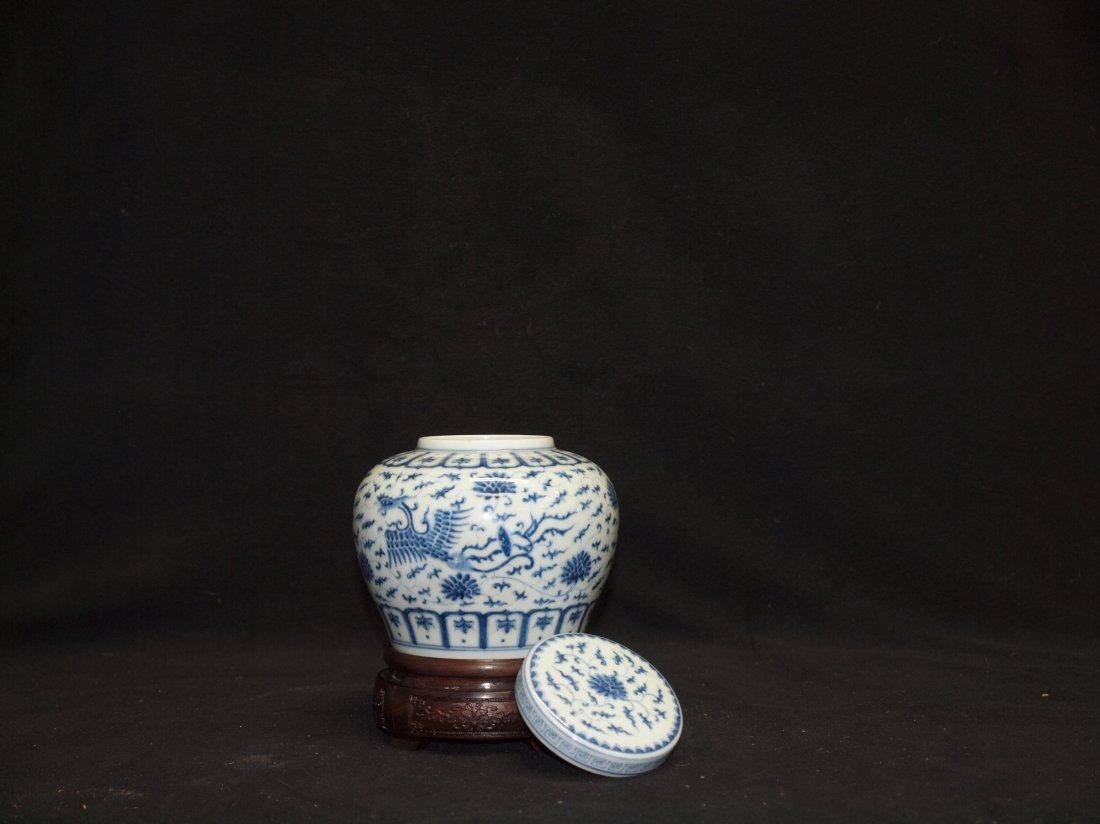 Blue & White Ginger Jar with Marking - 2