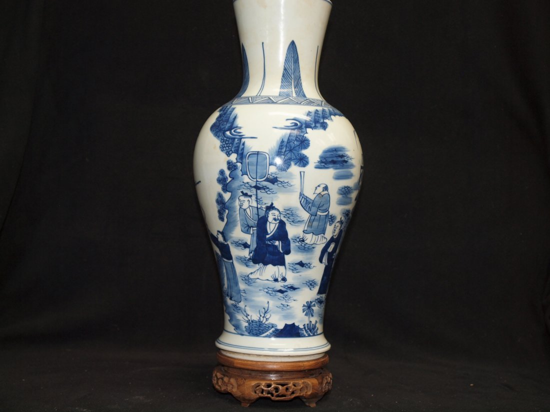 Blue & White  Vase with Marking