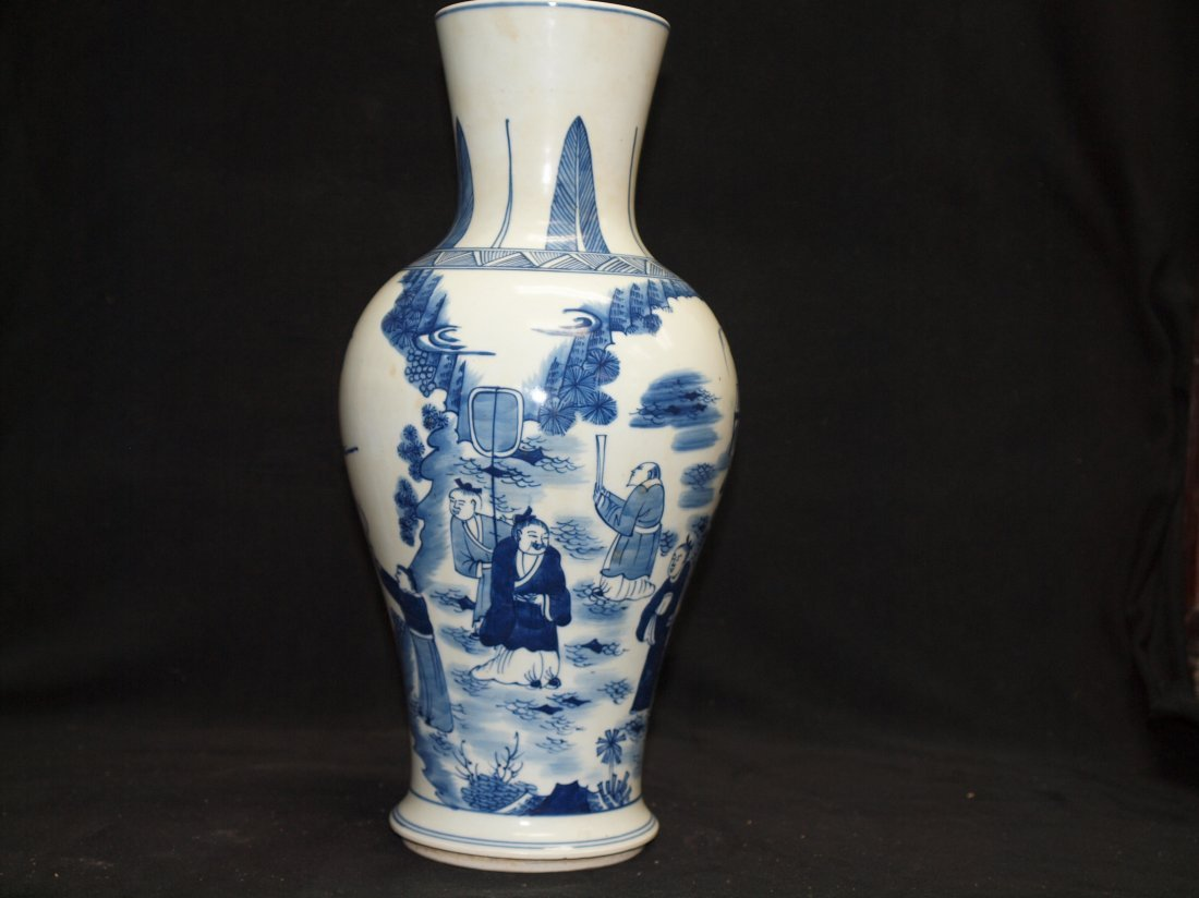 Blue & White  Vase with Marking - 2