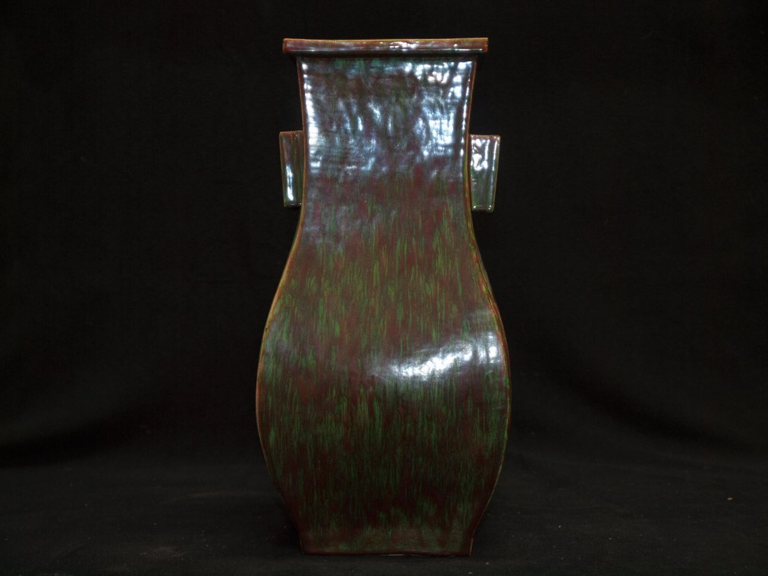 Green and Red Vase with Marking