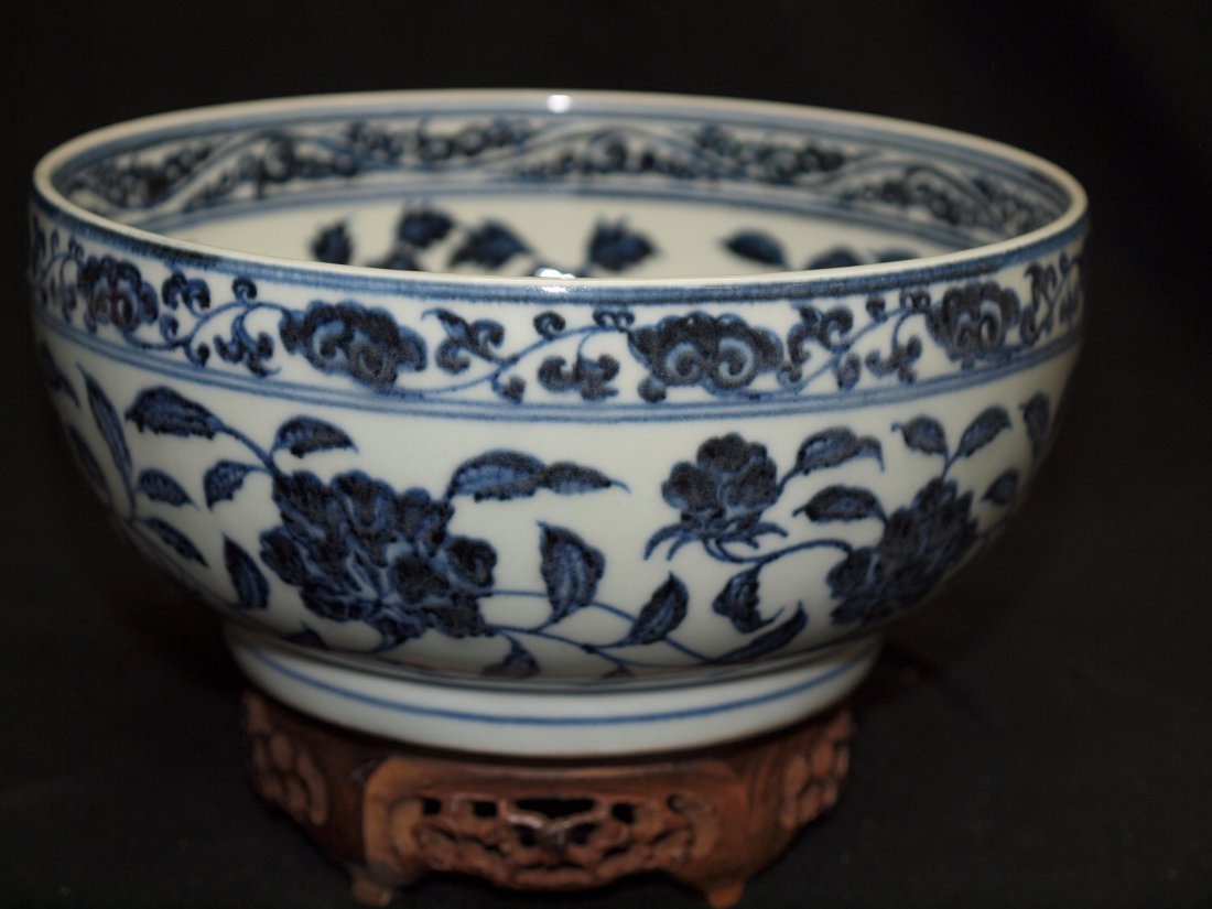 Blue & White with ' Flower ' Bowl
