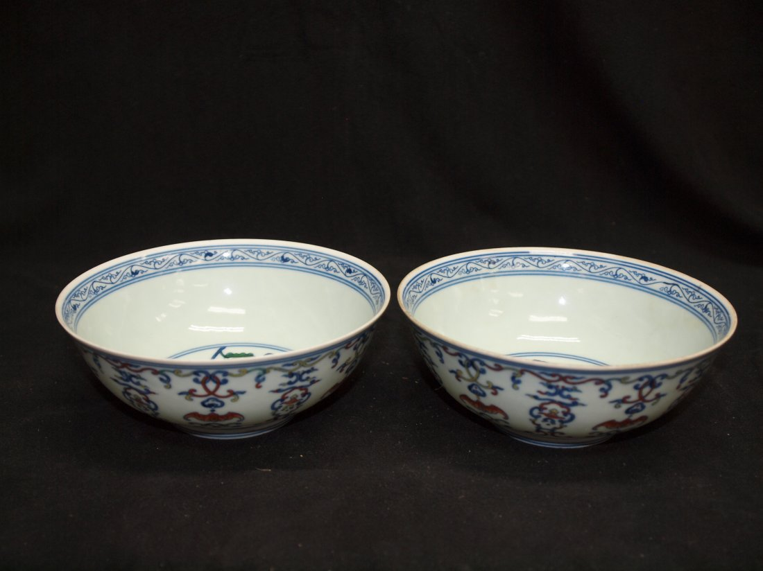 A Pair of Doucai Bowl with Bat & Marking