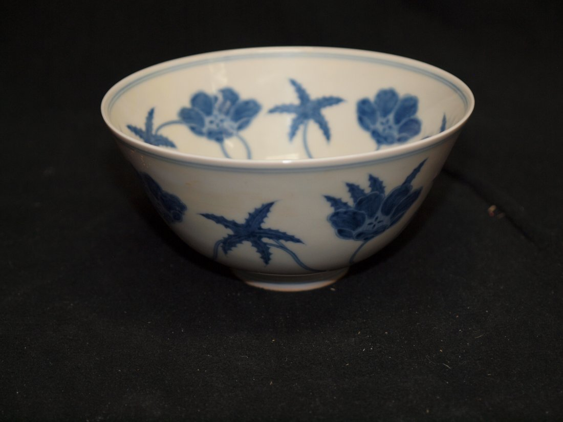 Blue & White  Bowl with Flower inside  with Marking