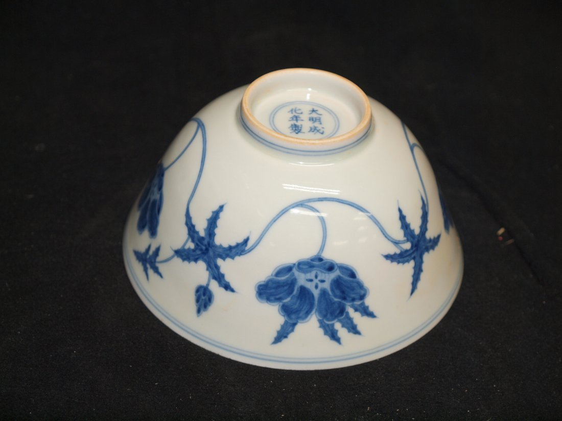 Blue & White  Bowl with Flower inside  with Marking - 2