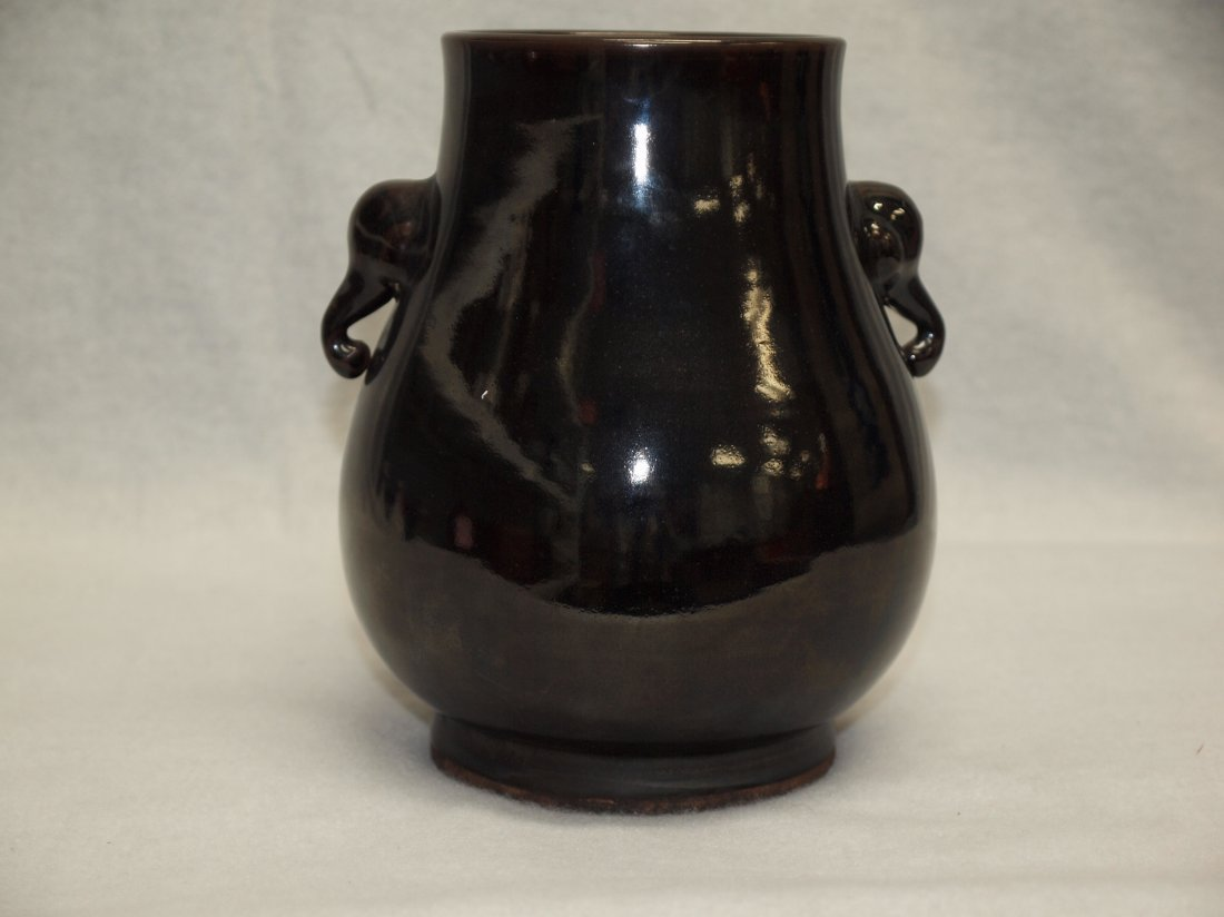 Black Glazed with Two Ears Vase