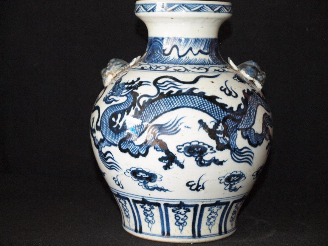 Blue & White with Dragon Vase