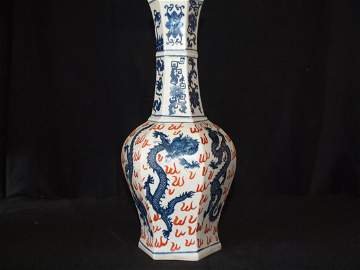 Blue & White Hexagon Vase with Dragon & Marking