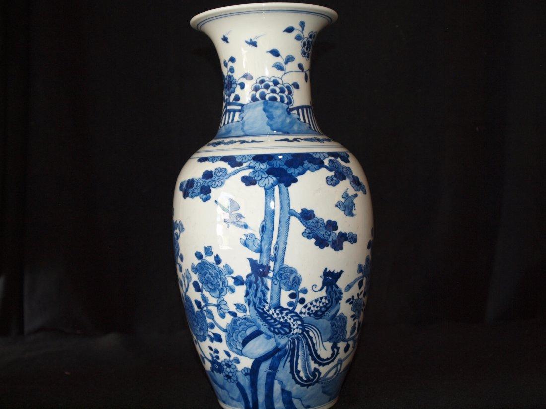 Blue & White  Vase with Peacock Vase