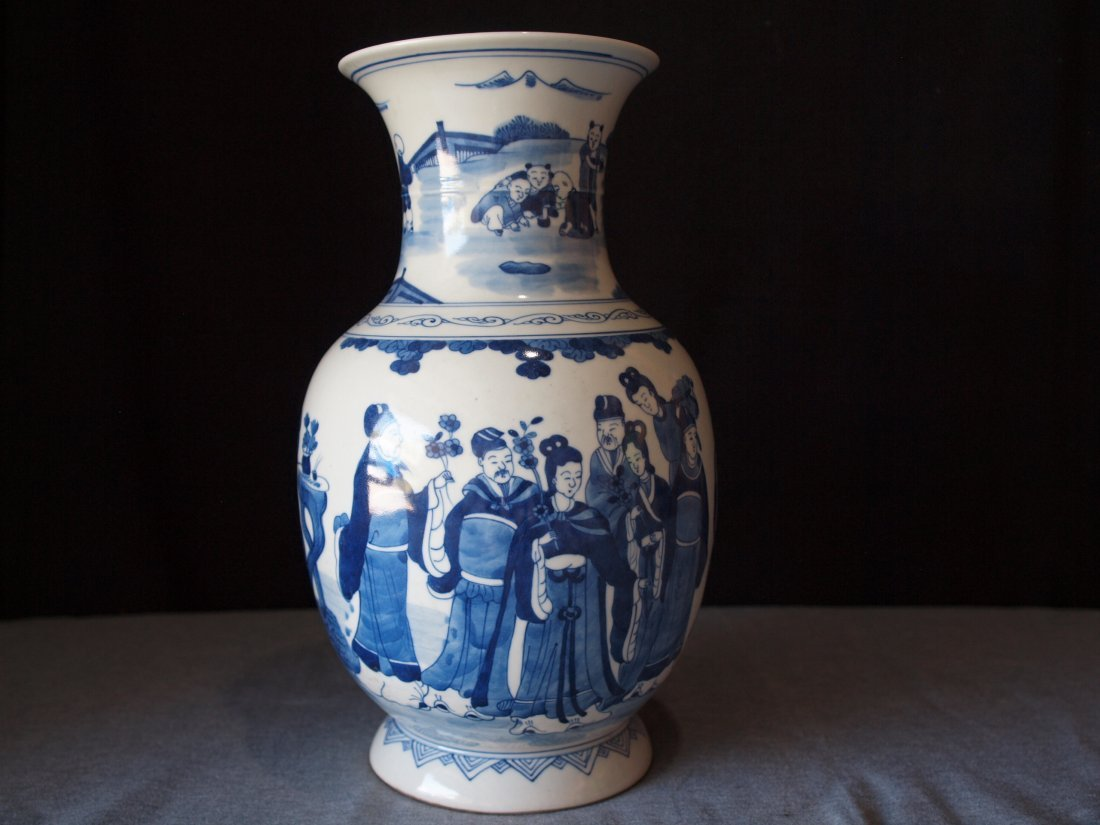 Blue & White  Vase with People