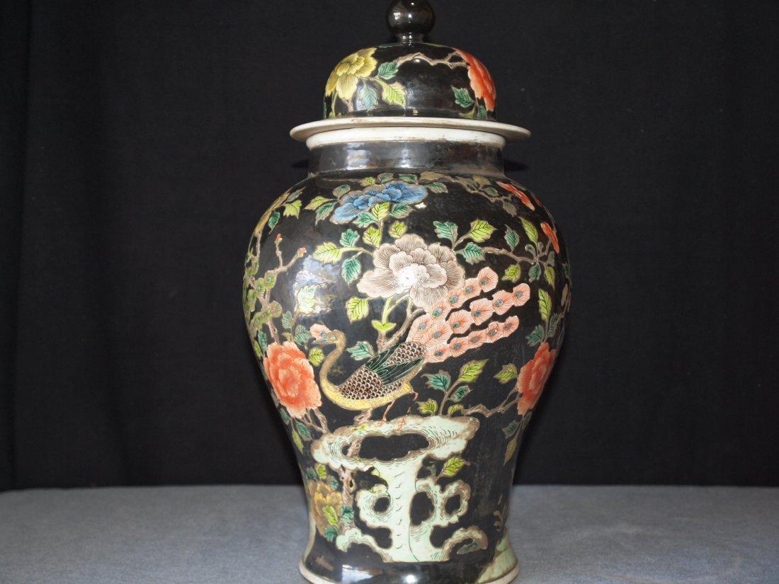 Black Ink with Famille Vase