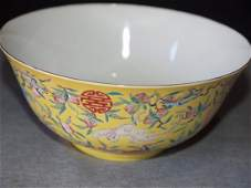 Yellow Familiar Bowl with Marking