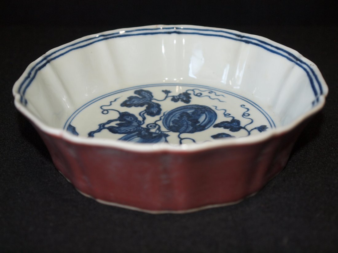 Blue & white Inside, Red Glaze - 3