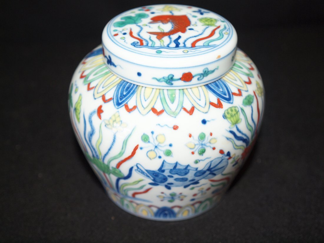 Doucai Ginger Jar with Markings