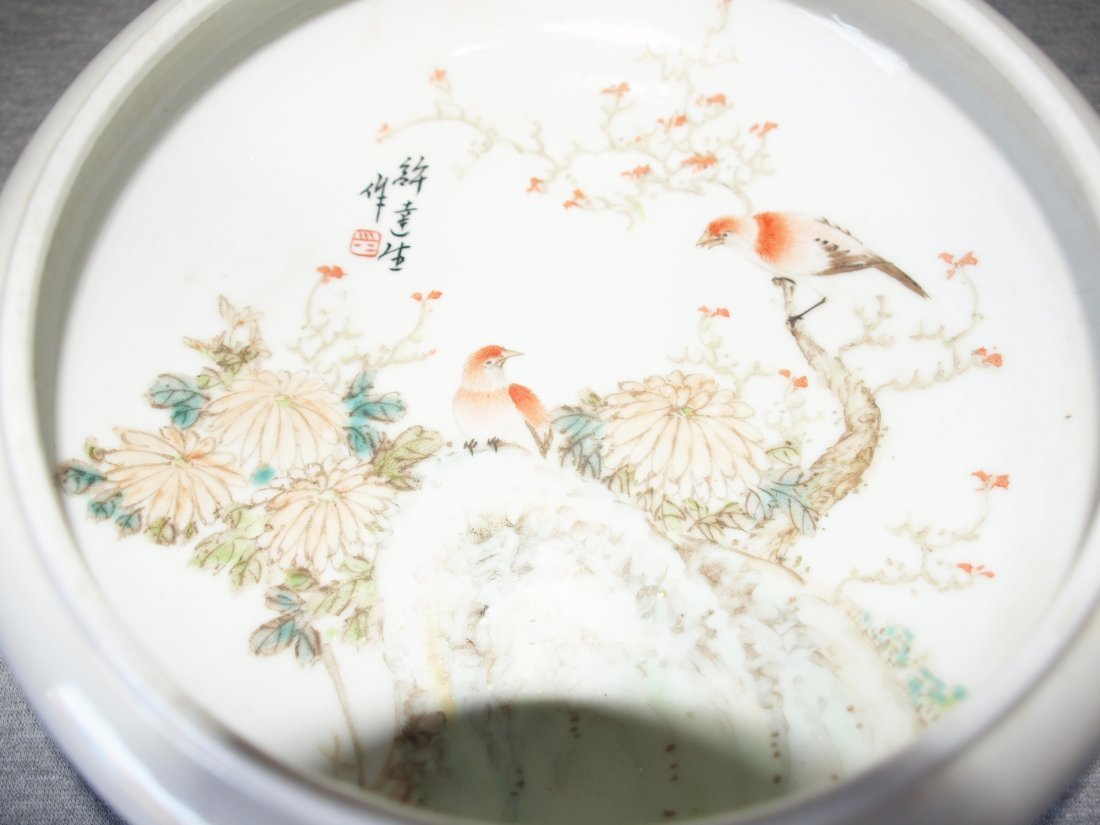 White Planter with Birds & Flowers Inside - 2