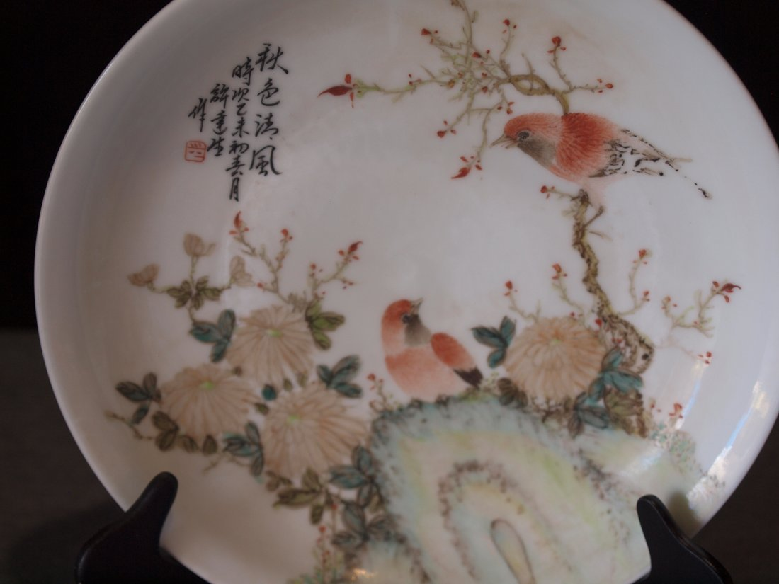 White Plate with Birds & Flowers