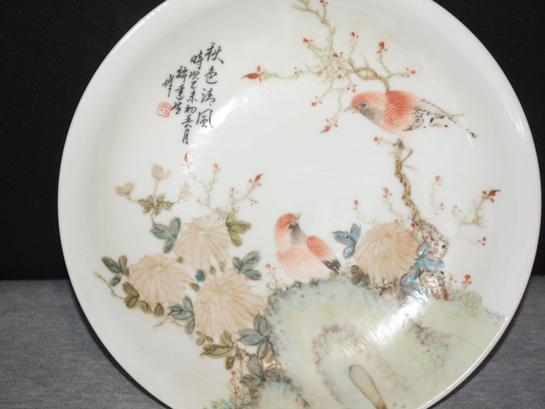 White Plate with Birds & Flowers - 2
