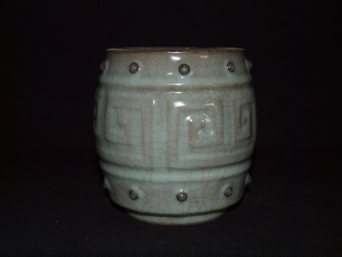 Crackle Style Drum Vase