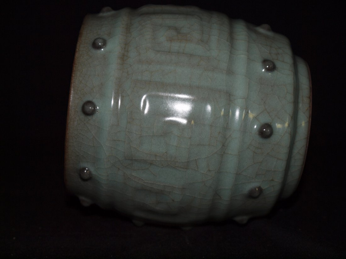 Crackle Style Drum Vase - 3