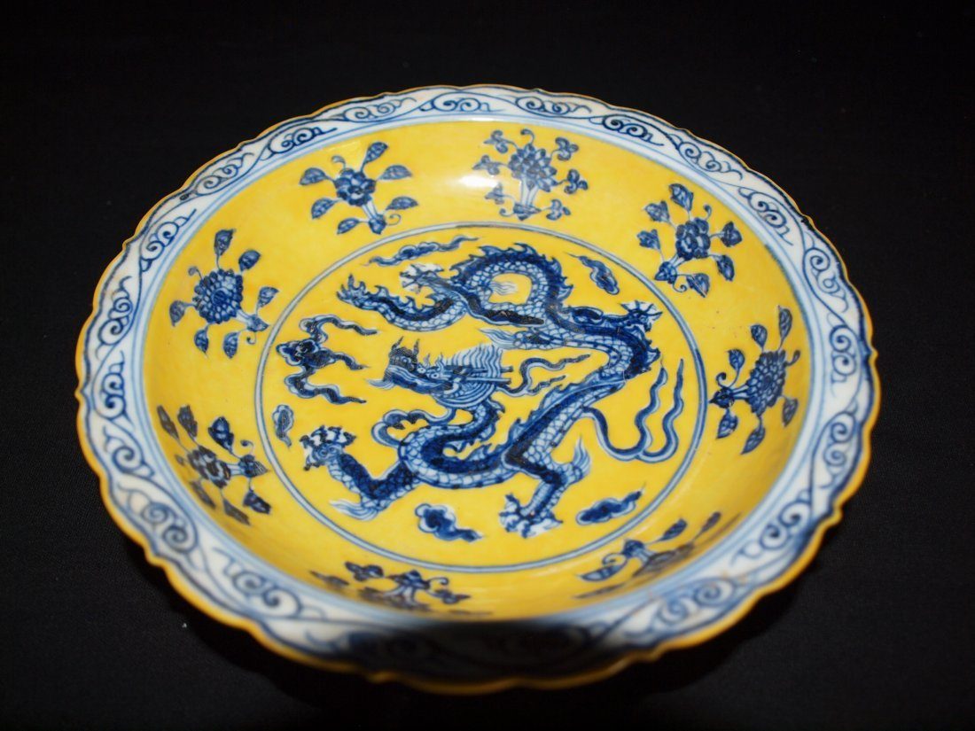Plate With Yellow Background & Dragons - 2