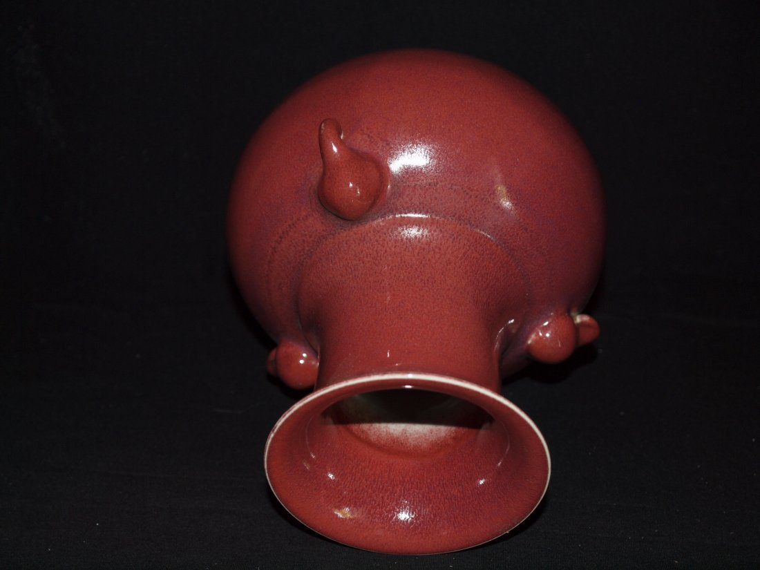 Copper Red Vase with Three Elephant Ears - 5