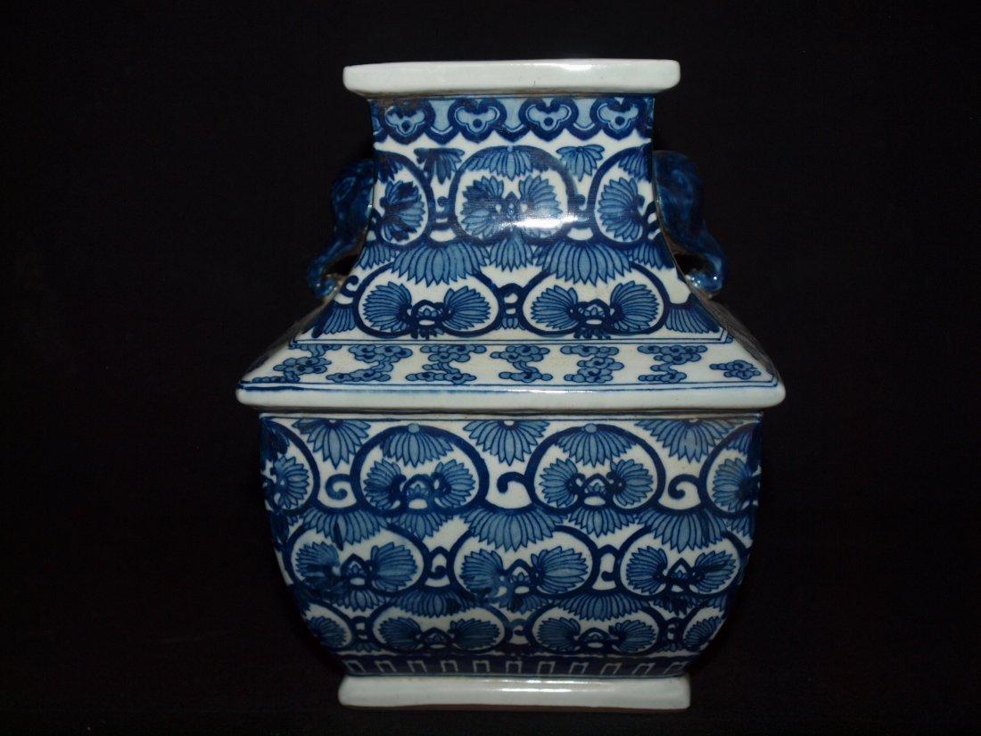Old Blue & White Square Vase