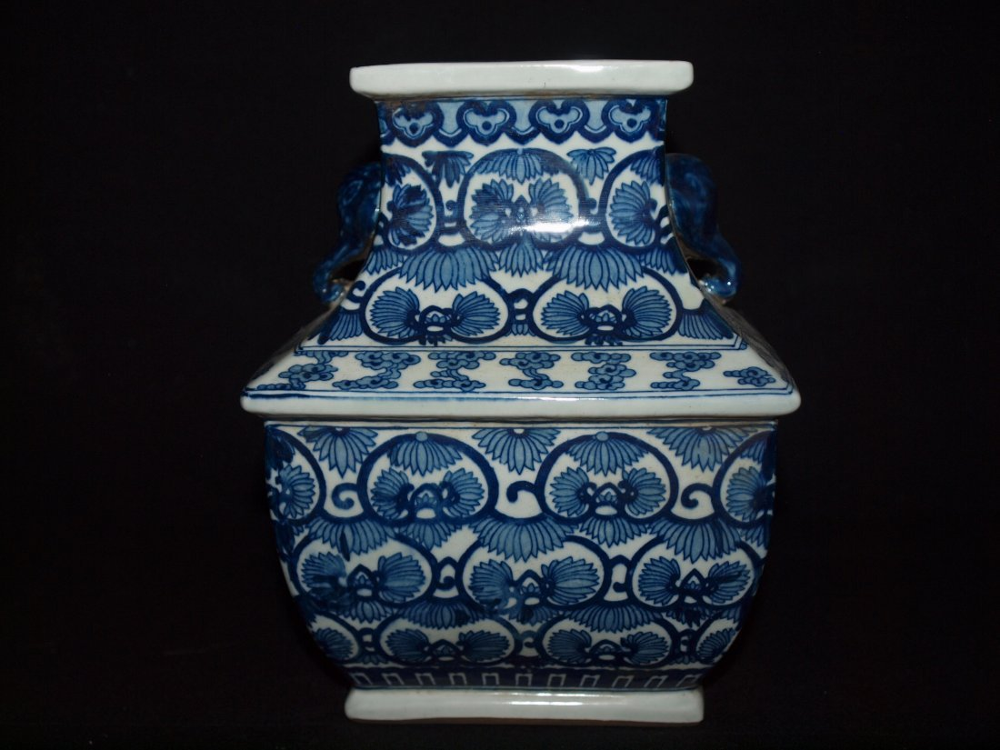 Old Blue & White Square Vase
