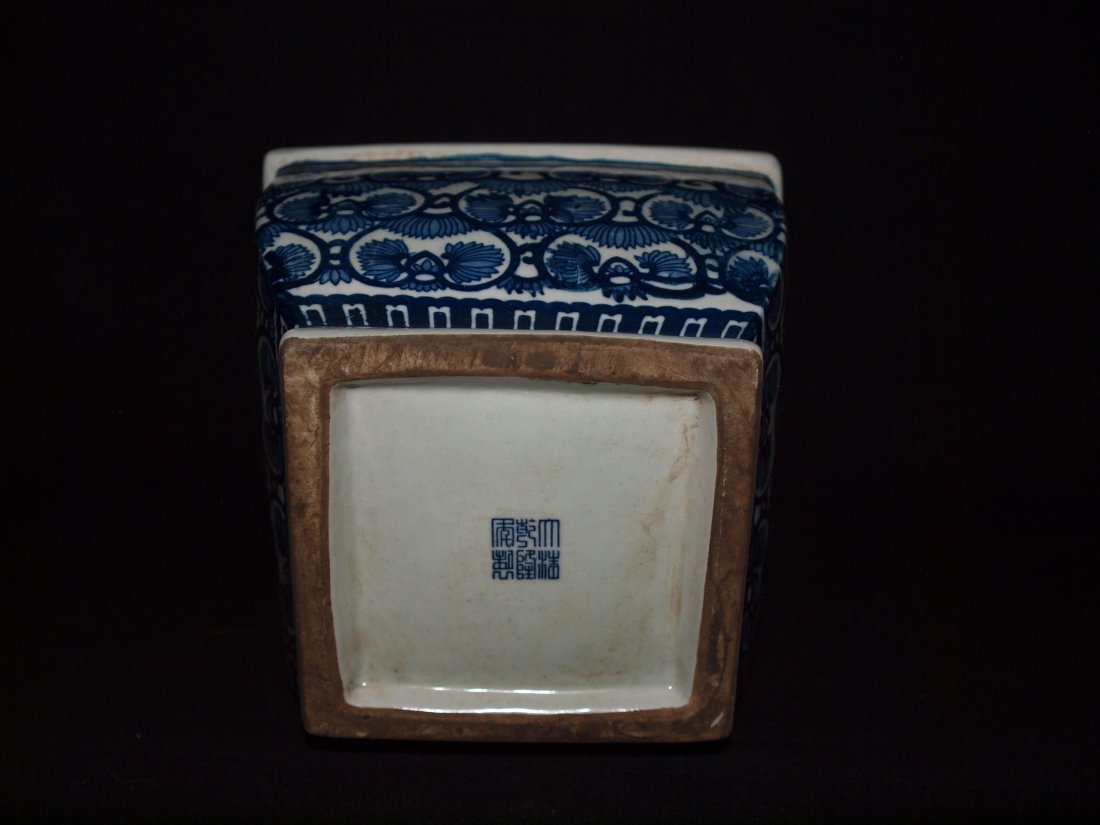 Old Blue & White Square Vase - 2