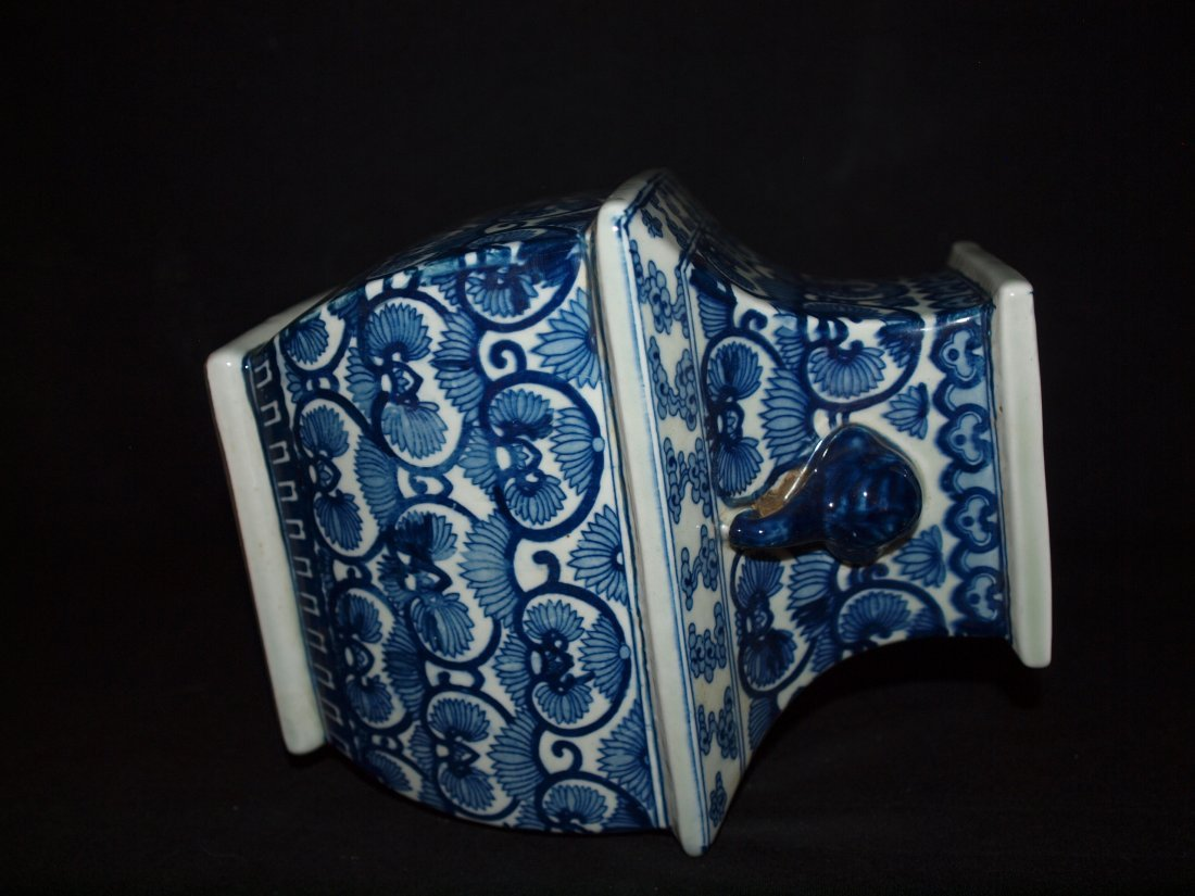 Old Blue & White Square Vase - 3